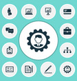 trade icons set with work man hierarchy pen and vector image vector image