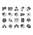 translation icon set vector image vector image