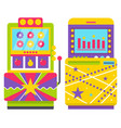 two colorful retro arcade game machines vector image