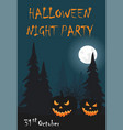 two halloween pumpkin on night background vector image vector image