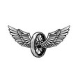 vintage design with winged motorcycle wheel vector image vector image