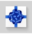 White Square Gift Box with Shiny Blue Ribbon Bow vector image vector image