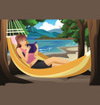 woman relaxing on a hammock vector image vector image