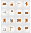 wooden board flat icons 17 vector image vector image