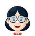 young woman wearing eyeglasses icon vector image