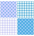 Blue white and violet houndstooth background set vector image