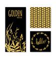 set of glitter golden leaves banner frame and vector image