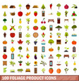 100 foliage product icons set flat style vector image vector image