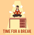 a young woman or girl focuses meditates and sits vector image