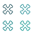 assembly sticker cross bones stacked on a white vector image vector image