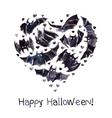 bats heart watercolor happy halloween vector image vector image