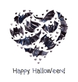 Bats Heart Waterolor Happy Halloween vector image vector image