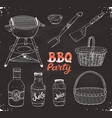 bbq accessories sketch vector image