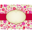 beige valentine background with pink and red heart vector image vector image