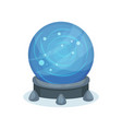 big blue magic ball on gray stand crystal sphere vector image