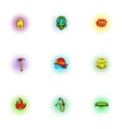 Burning icons set pop-art style vector image vector image