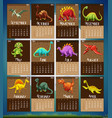 calender template with 12 dinosaurs vector image