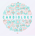 cardiology concept in circle with thin line icons vector image