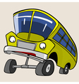 Cartoon Character Yellow Bus reared vector image vector image