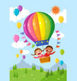 cartoon kids riding a hot air balloon over the vector image