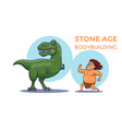 cartoon stone age bodybuilding competition vector image vector image