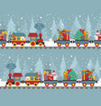 christmas train with bear reindeer gifts seamless vector image vector image