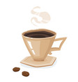 coffee cup saucer and beans isolated on a white vector image
