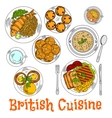 Colorful sketch of english sunday dinner vector image vector image