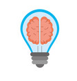 creative bulb with brain inside over white vector image