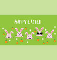 cute easter bunnies happy easter sign vector image vector image