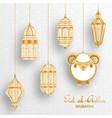 eid al adha background islamic arabic lantern and vector image