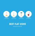 flat icon broomstick set of cleaner bucket vector image