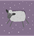 funny cartoon sheep on the pink background vector image