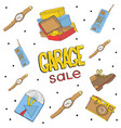 garage sale hand drawn seamless pattern camera vector image vector image