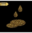 Gold glitter icon of puddle isolated on vector image