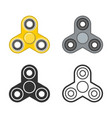 hand fidget spinner color and line icons vector image