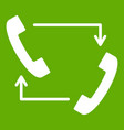 handsets with arrows icon green vector image vector image