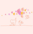 happy easter cute little elephant with balloons vector image vector image