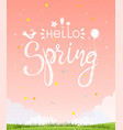 hello spring modern summer poster with background vector image