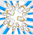 internet communication and activity people hands vector image
