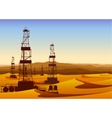 Landscape whith oil rigs in barren desert with vector image vector image