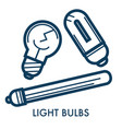 light bulbs different types electric lamps set vector image vector image