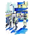 markers drawing on paper of street city Kyiv vector image