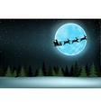 moon and flying Santa vector image
