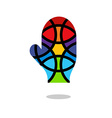 Mosaic hand icon Mitten icon Isolated vector image vector image