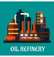 Oil refinery factory in flat style vector image