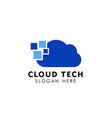 pixel cloud logo design template data server vector image