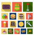 pub interior and equipment flat icons in set vector image
