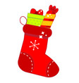 red christmas sock with gifts new year stockings vector image vector image