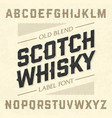 scotch whisky style label font with sample design vector image vector image